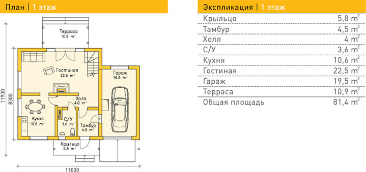 Дом из газобетона по проекту KONSTANZ