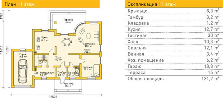 Дом из газобетона по проекту STENDAL